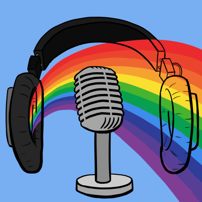 Rainbow behind podcast microphone, with over-ear headphones and sky blue background