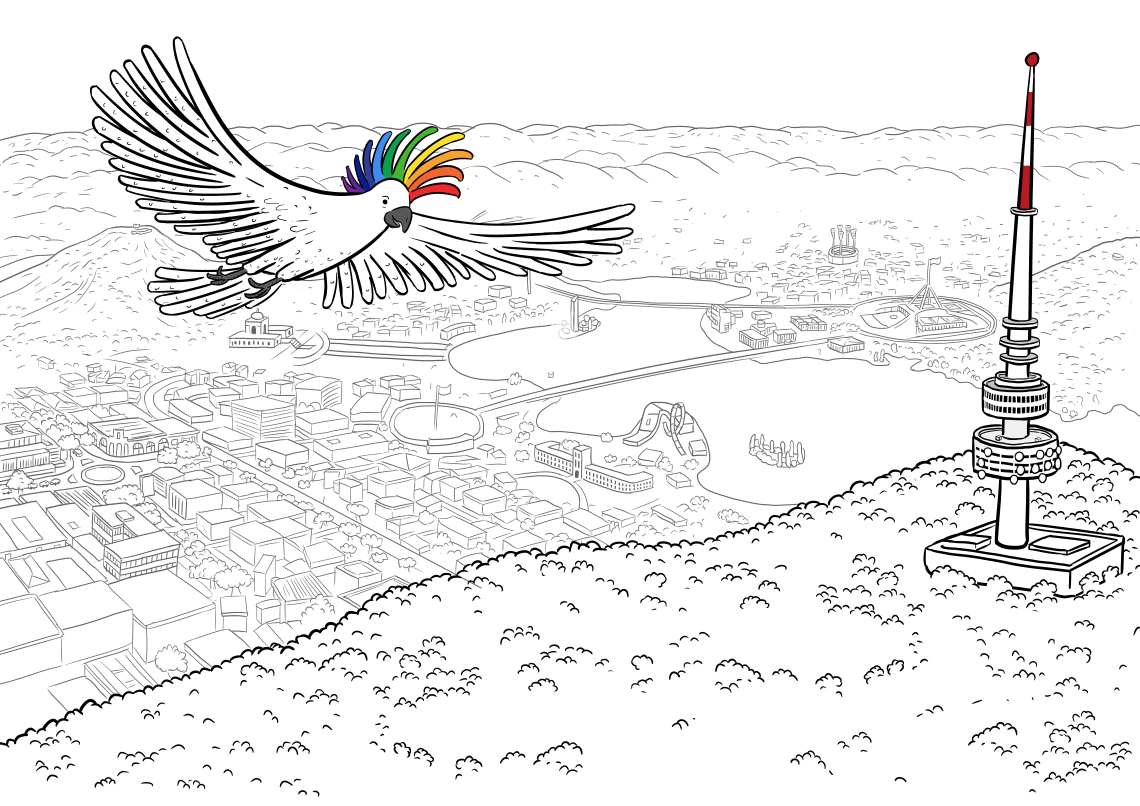 Black and white cartoon drawing of cockatoo with rainbow crest flying above detailed aerial city view