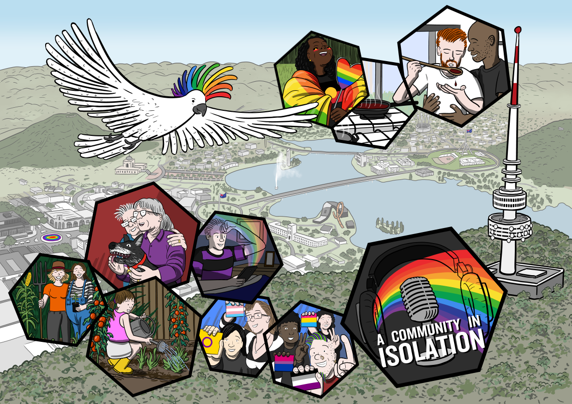Artwork for A Community in Isolation podcast, featuring colourful illustrations of the Canberra queer community