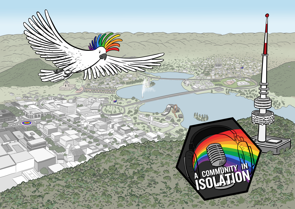 Artwork for podcast about Canberra queer community A Community in Isolation, featuring rainbow cockatoo flying above Canberra skyline