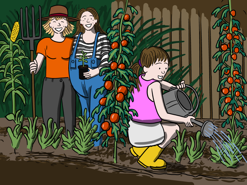 Two lesbian parents gardening in backyard with their child with watering can