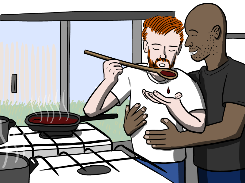 Gay couple hugging in kitchen, cooking food together