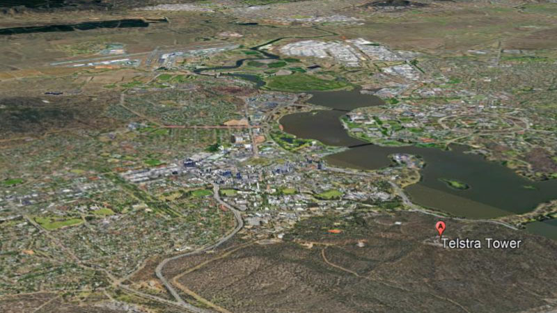 Satellite map view of Canberra from Google Earth