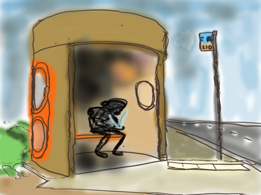 Rough drawing of young period at Canberra bus shelter using phone