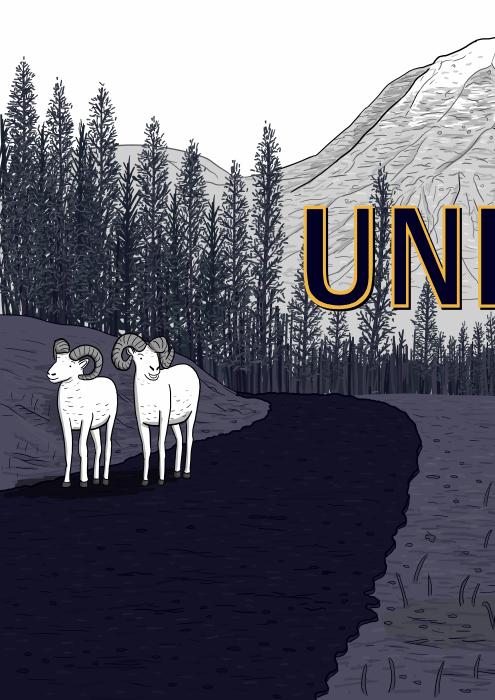 Unitel comic by Stuart McMillen. Cartoon sheep standing on a mountain road near trees.