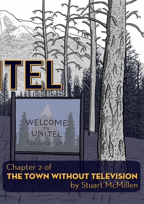 Cartoon homage to Twin Peaks TV title screen.