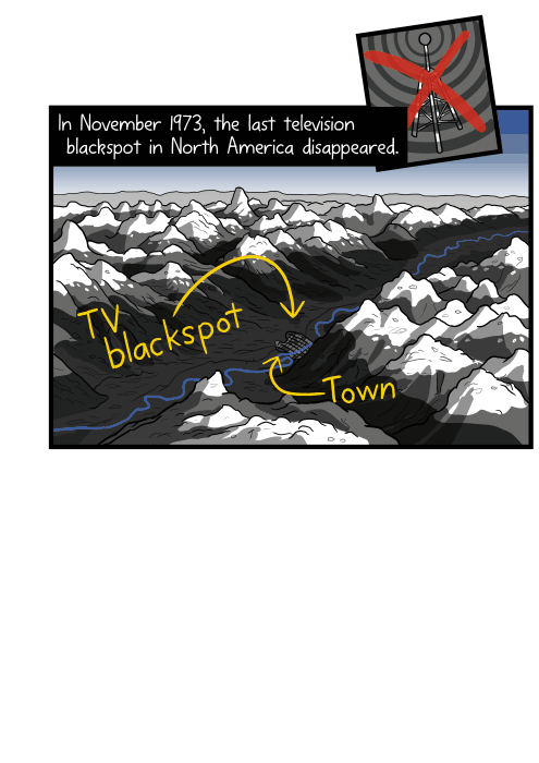 Cartoon high angle view of town inside deep mountain valley drawing. In November 1973, the last television blackspot in North America disappeared.