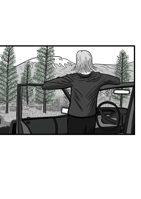 Rear view of a cartoon woman standing leaning against open car door, looking to the distance with the car cabin open.