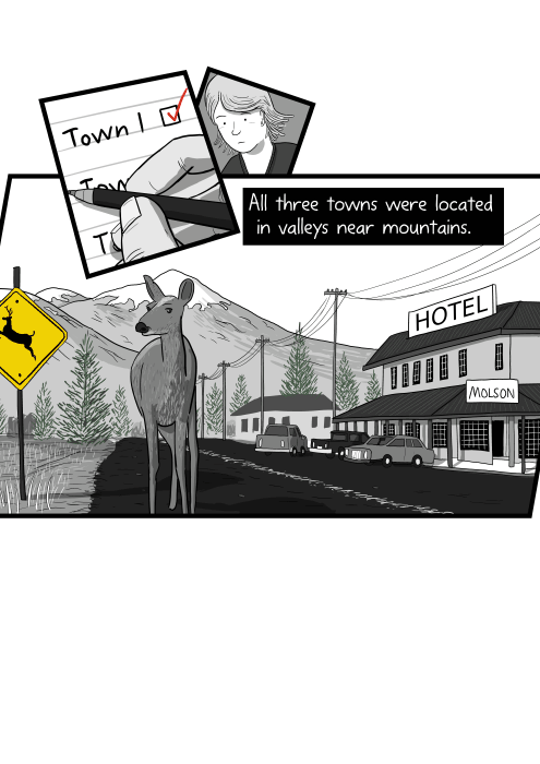 All three towns were located in valleys near mountains. Drawing of deer standing on road in small mountain town.