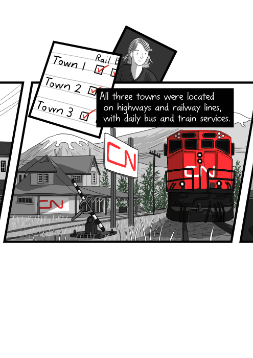 All three towns were located on highways and railway lines, with daily bus and train services. Cartoon drawing of train at CN Rail station in the Canadian Rocky Mountains.