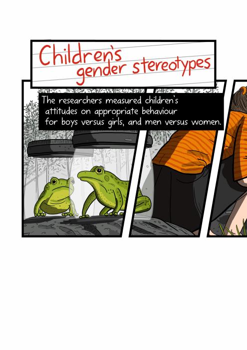 Cartoon frog caught inside a jar. Children's gender stereotypes. The researchers measured children's attitudes on appropriate behaviour for boys versus girls, and men versus women.