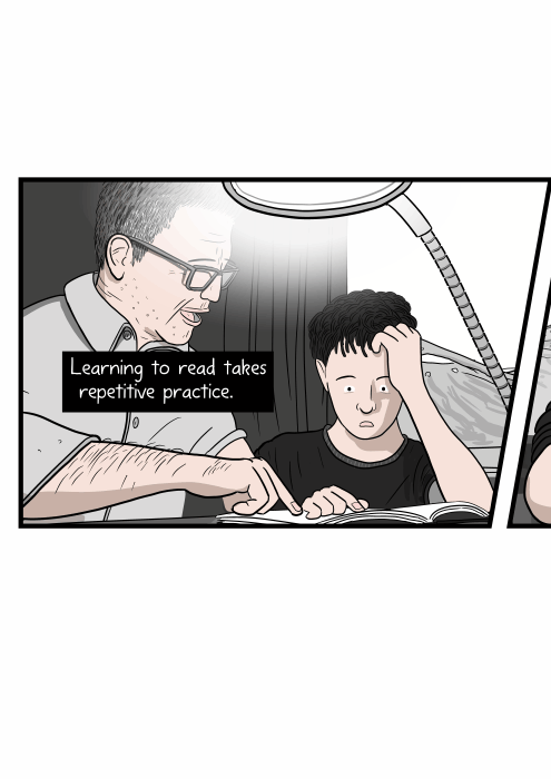 Father teaching a young boy how to read words from a book at a table. Learning to read takes repetitive practice.