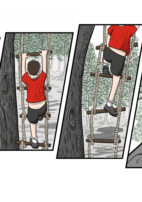 Rear view of a boy climbing up a rope ladder cartoon drawing.