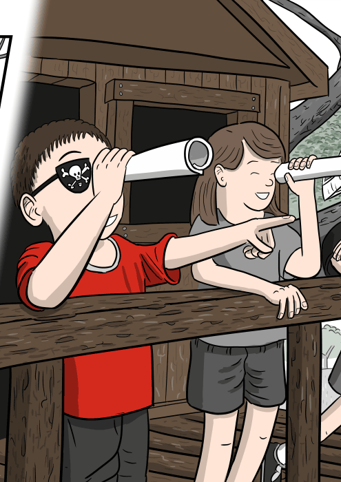 Cartoon of children looking over the side of a treehouse, playing 'pirates' with telescopes held to their eyes.