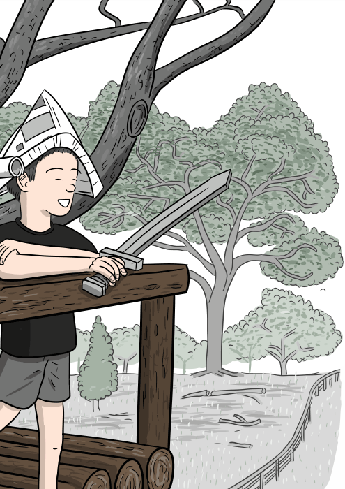 Drawing of boy with paper hat looking over balcony towards woodland.