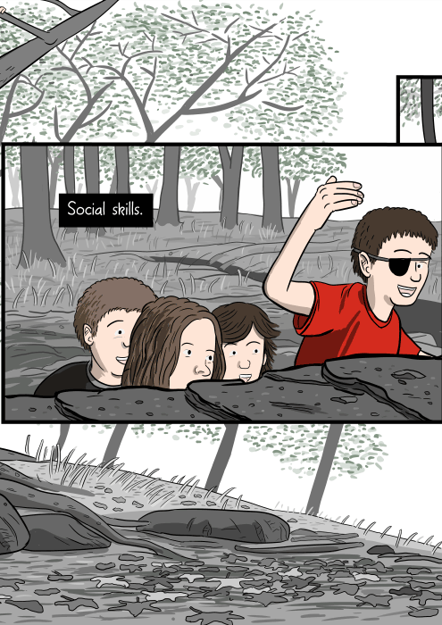 Social skills. Side view cartoon of children hiding behind rocks in the woods, deciding to move forward.