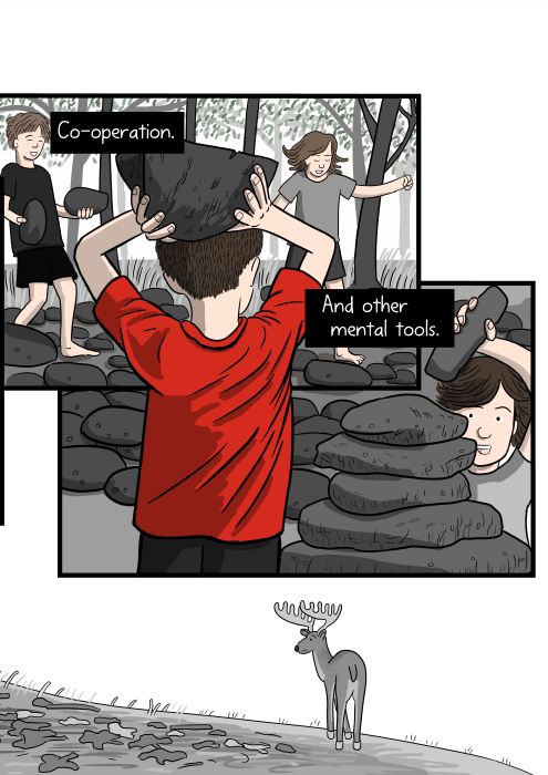 Drawing of children carrying rocks to make a cubby-house in the forest. Co-operation. And other mental tools.