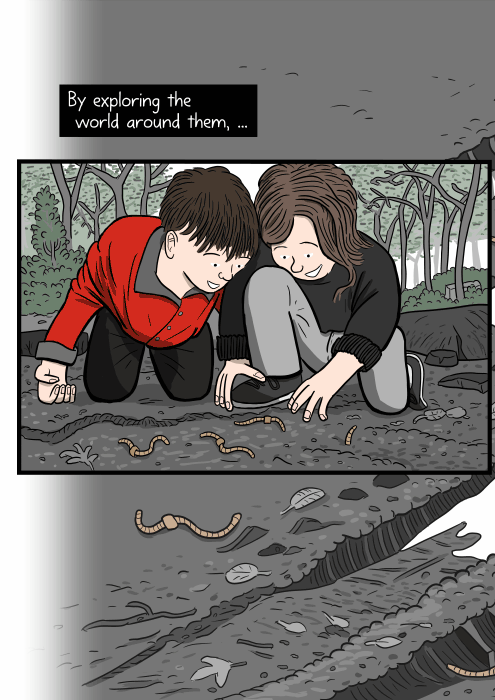 Cartoon of children crouched on the ground, looking at worms on the soil. By exploring the world around them, ...