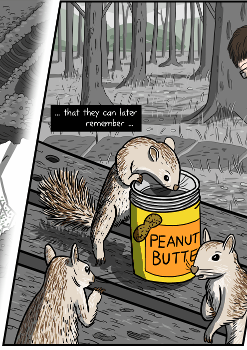 Drawing of squirrels on a picnic table, sniffing a jar of peanut butter. ... that they can later remember ...