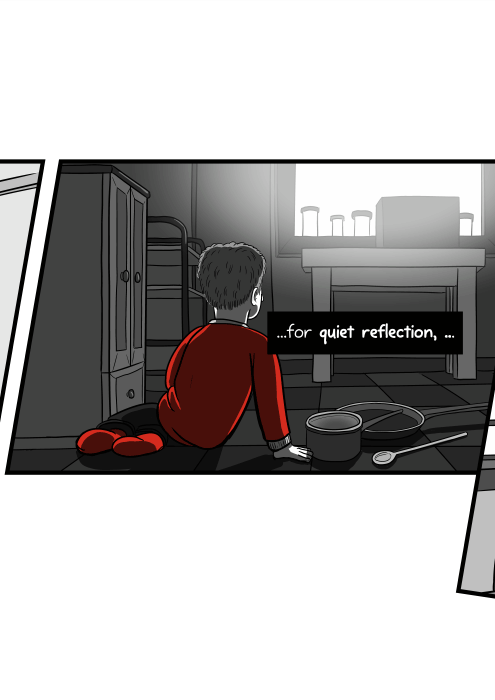 Boy sitting on a kitchen floor, looking around with pots and pans on the floor. ...time for quiet reflection, ...