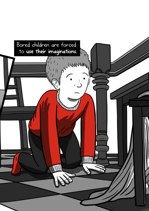 Bored children are forced to use their imaginations. Low angle drawing of a boy underneath a dining room table.