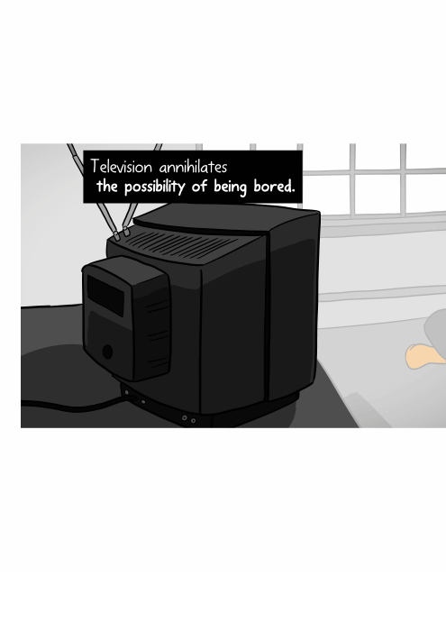 Television annihilates the possibility of being bored. Cartoon rear side view of CRT television set.