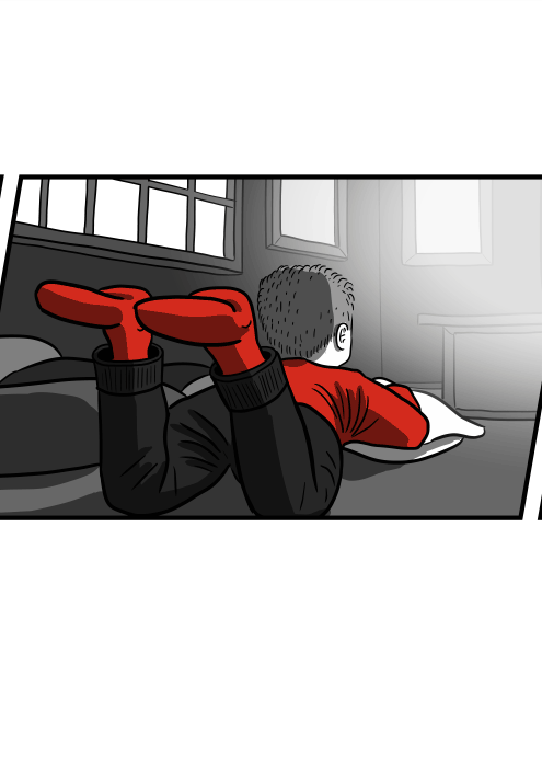 Rear view of boy lying on rug watching television, with feet up in the air. Cartoon drawing of a child watching TV set on the ground.