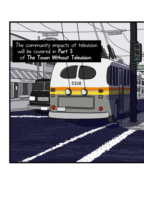 Rear view of old Vancouver trolleybus with overhead wires above the city street. The community impacts of television will be covered in Part 3 of The Town Without Television.