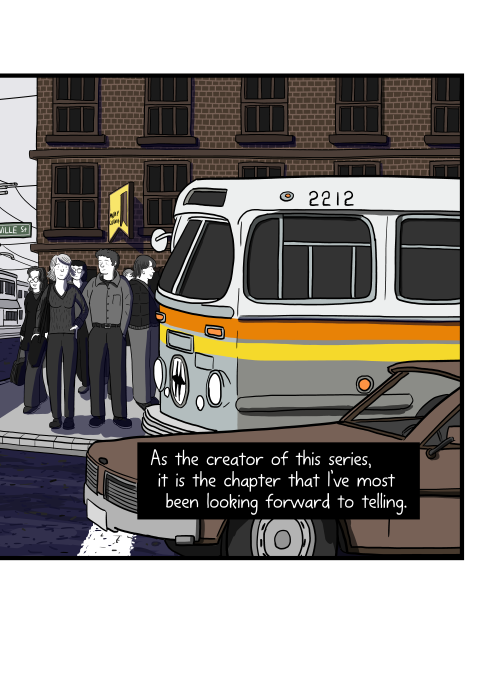 Side view drawing of bus and car stopped at traffic lights near pedestrians. As the creator of this series, it is the chapter that I've most been looking forward to telling.