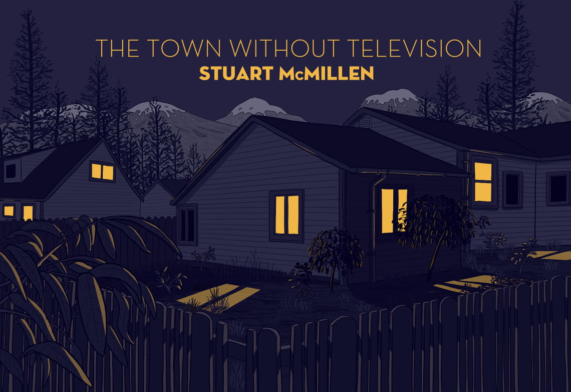 """Drawing of house and yard at night, with yellow light from the windows shining through into yard. Cartoon parody of front cover of """"Neck of the Woods"""" by Silversun Pickups, based on House Hunting by Todd Hido."""