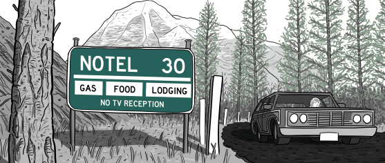 Drawing of car driving on winding mountain road near road sign saying Notel