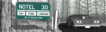 Notel comic: car driving on mountain road near road sign