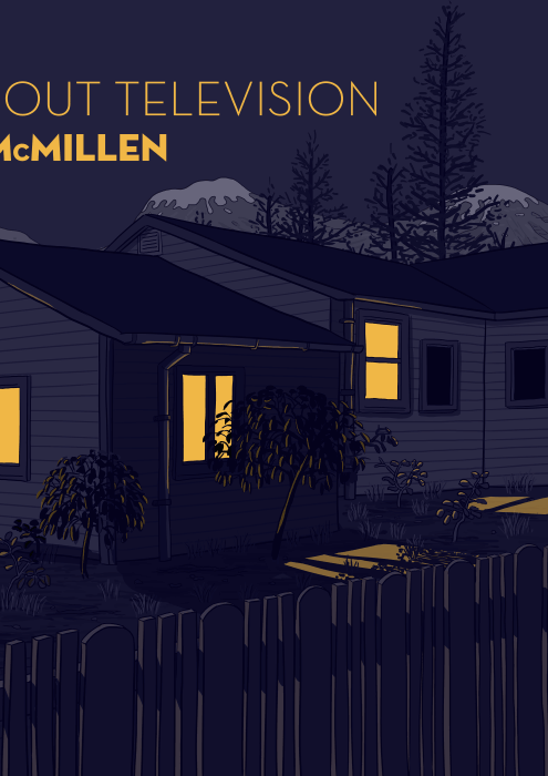 Drawing of house at night, with yellow light shining through windows. Parody of cover of