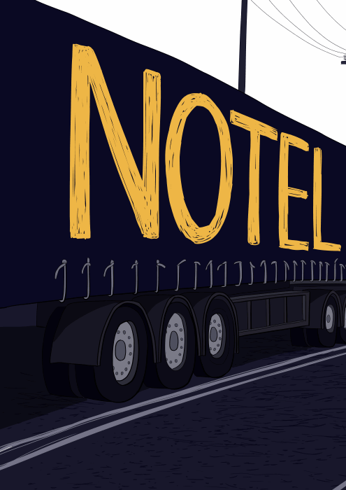 Notel by Stuart McMillen: sign on side of truck