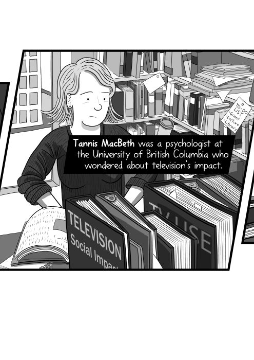 Drawing of Professor Tannis MacBeth in a cluttered office with bookshelves filled with books. Tannis MacBeth was a psychologist at the University of British Columbia who wondered about television's impact.