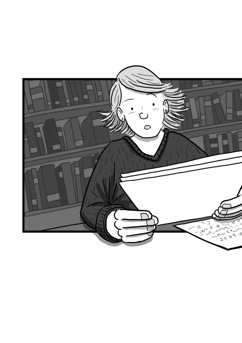 Drawing of a woman reading a letter with surprised expression on her face, the artwork tilted on a Dutch angle. Low angle view of character holding a sheet of paper with both hands.