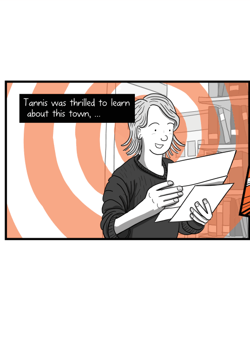 Cartoon of happy woman reading her mail. Tannis was thrilled to learn about this town, …