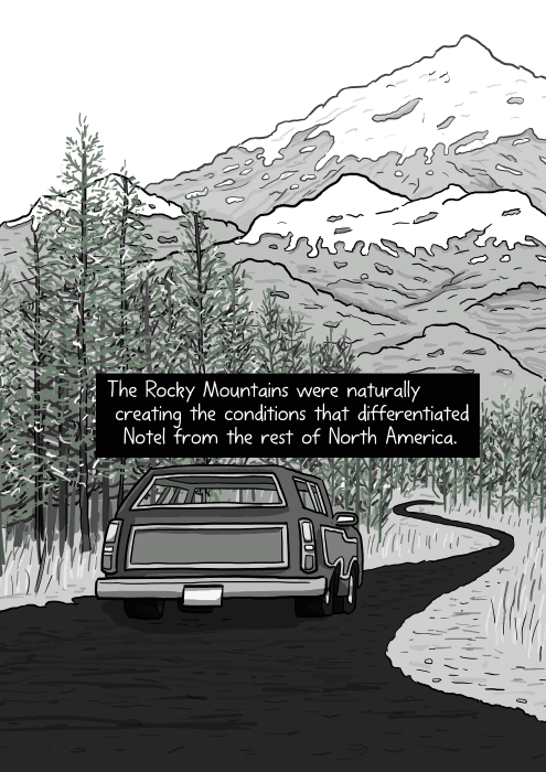 Rear view of cartoon car Ford LTD Country squire driving away. The Rocky Mountains were naturally creating the conditions that differentiated Notel from the rest of North America.