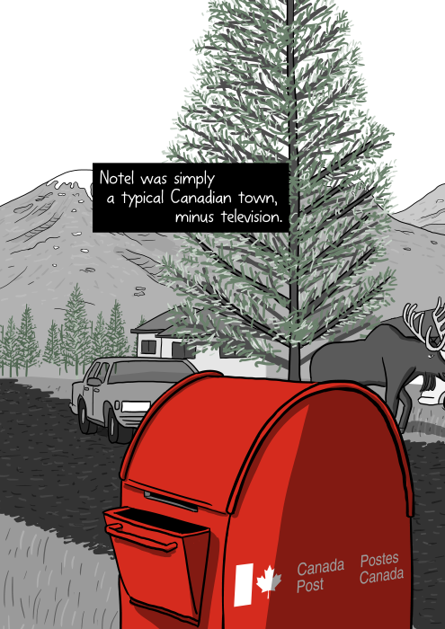 Cartoon drawing of red Canada Post box on a small town street. Notel was simply a typical Canadian town, minus television.