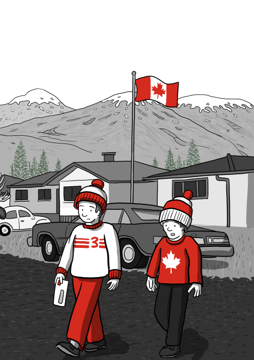 Cartoon drawing of two boys crossing the street in a small town, wearing beanies and winter clothes. Cartoon illustration of typical Canadian winter with tuques and maple leaf sweaters.