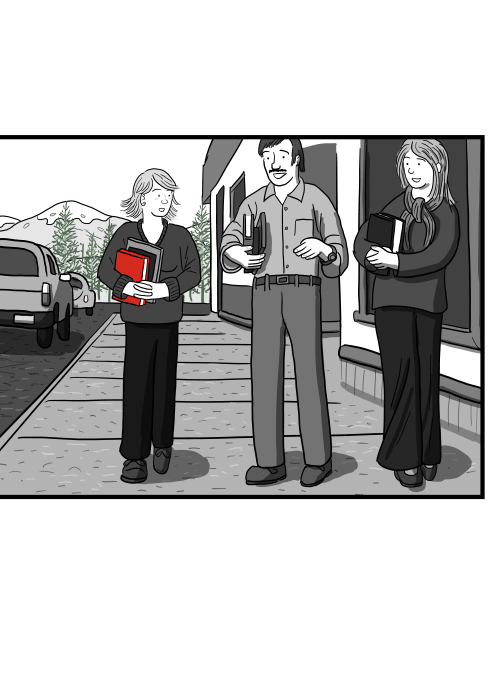 Three people walking along street abreast towards the viewer. Cartoon characters chatting while carrying books and walking.