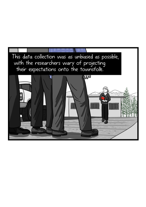 This data collection was as unbiased as possible, with the researchers wary of projecting their expectations onto the townsfolk.