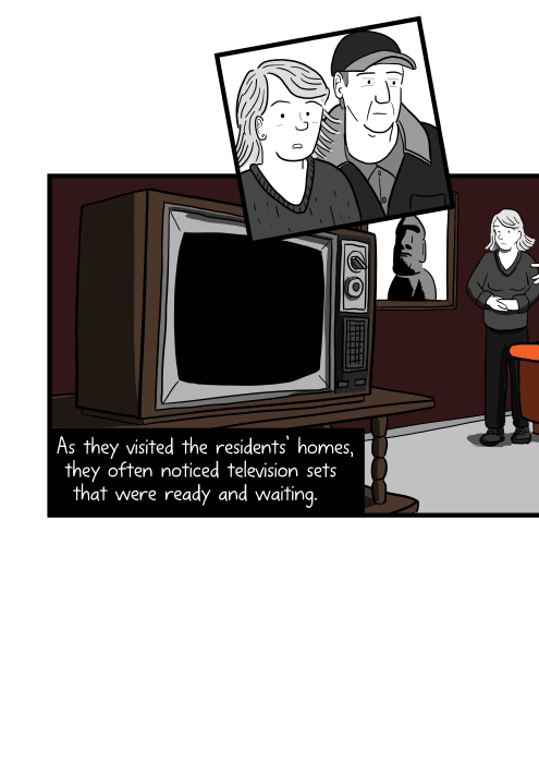 Cartoon of 1970s CRT television in lounge room. As they visited the residents' homes, they often noticed television sets that were ready and waiting.