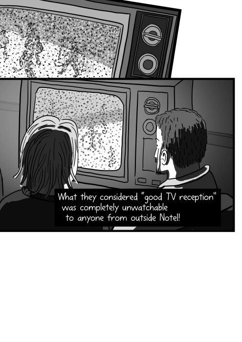 """What they considered """"good TV reception"""" was completely unwatchable to anyone from outside Notel! Rear view of people watching an old TV set, viewed over their shoulders."""