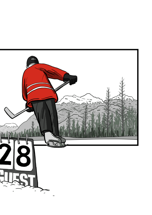 Rear view of cartoon ice hockey player, skating away on ice on outdoor frozen lake rink. Low angle cartoon of frozen lake in mountain town.