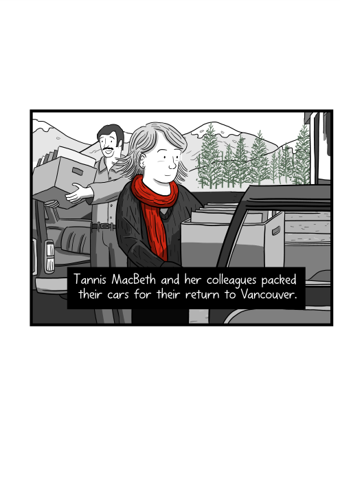 Tannis MacBeth and her colleagues packed their cars for their return to Vancouver.