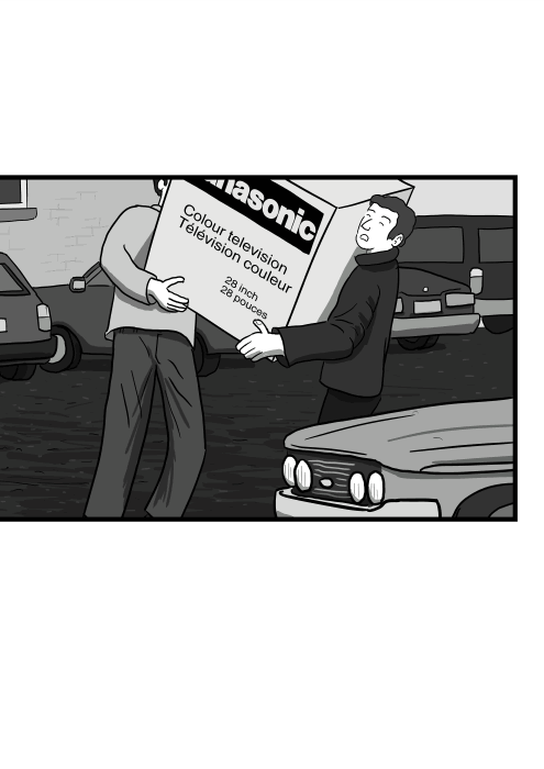 Drawing of two men carrying a heavy box together, box with a bulky old television set inside.