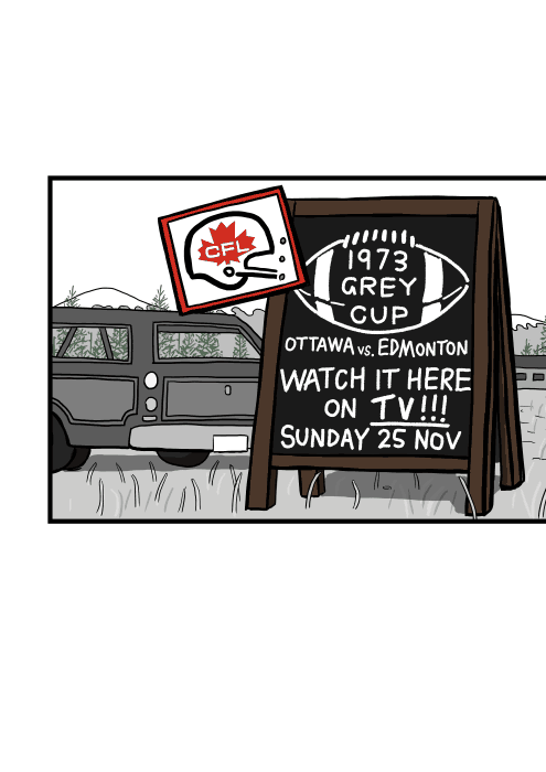 Cartoon sign of roadside sign advertising 1973 Grey Cup from CFL Canadian Football League. Ottawa vs Edmonton.