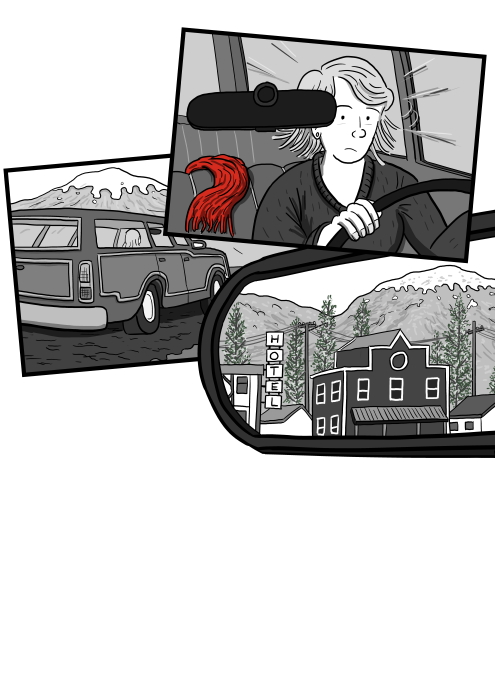 Woman driving a car, noticing something in her rear view mirror cartoon drawing.