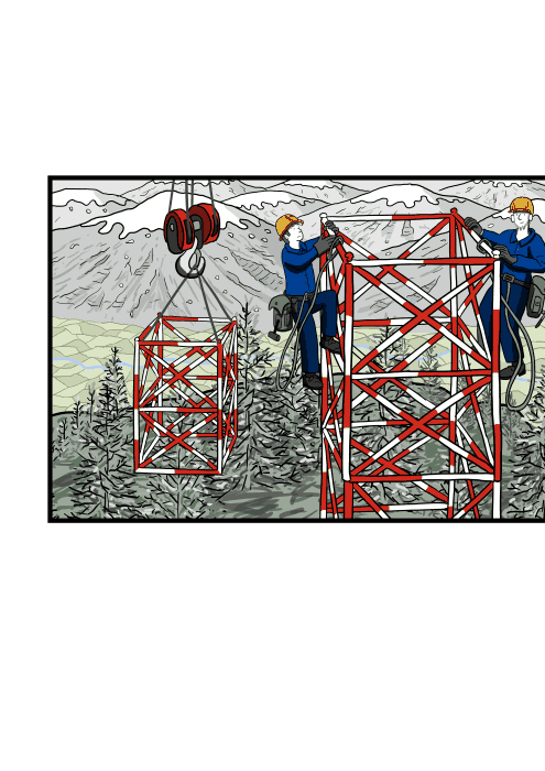 High angle workers climbing mast antenna wearing overalls and hard hats.